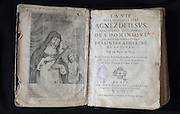 Frontispiece of the first edition of the Life of St Agnes of Jesus, 1602-34, published 1665 by Monsieur de Lantages of the Sulpician Seminary of Le Puy en Velay, in the Monastere Sainte Catherine de Sienne, or Monastery of St Catherine of Siena, Langeac, Haute Loire, France. St Agnes of Jesus, or St Agnes of Langeac, founded the monastery in 1623, and was prioress from 1627. Picture by Manuel Cohen