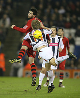 Photo: Rich Eaton.<br /> <br /> West Bromwich Albion v Cardiff City. Coca Cola Championship. 20/02/2007. Steven Thompson (top) for Cardiff outjumps Martin Albrechtsen of West Brom