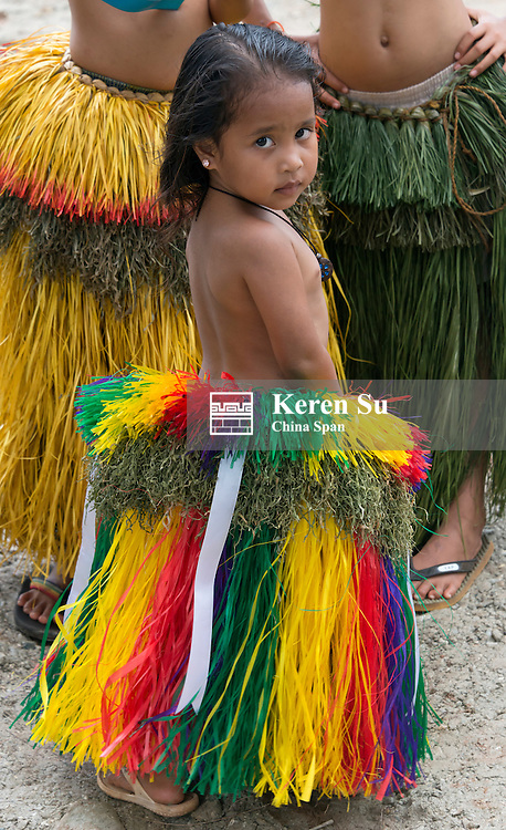 Little Yapese girl in traditional clothing, Yap Island, Federated States of Micronesia