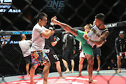 """Fighters in pre-fight sparing warm up in cage<br /><br />MMA. Mixed Martial Arts """"Tigers of Asia"""" cage fighting competition. Top professional male and female fighters from across Asia, Russia, Australia, Malaysia, Japan and the Philippines come together to fight. This tournament takes place in front of a ten thousand strong crowd of supporters in Pelaing Stadium. Kuala Lumpur, Malaysia. October 2015"""