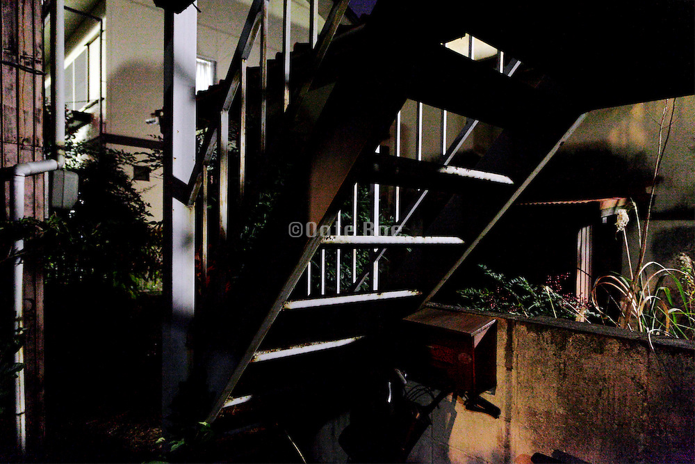 backyard garden with stairs of and old residential house