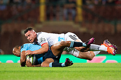 March 23, 2019 - Sydney, NSW, U.S. - SYDNEY, NSW - MARCH 23: Waratahs player Kurtley Beale (12) tackled by Crusaders player Ryan Crotty (12) at round 6 of Super Rugby between NSW Waratahs and Crusaders on March 23, 2019 at The Sydney Cricket Ground, NSW. (Photo by Speed Media/Icon Sportswire) (Credit Image: © Speed Media/Icon SMI via ZUMA Press)