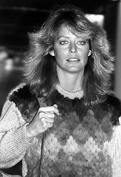 American actress Farrah Fawcett-Majors arriving at Heathrow Airport from Los Angeles.