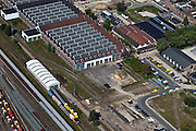 Nederland, Utrecht, Amersfoort, 06-09-2010; spooremplacement van station Amersfoort met Wagenwerkplaats..Rail yards Amersfoort Station.luchtfoto (toeslag), aerial photo (additional fee required).foto/photo Siebe Swart