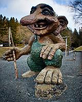 Troll on Mount Fløyen. Image taken with a Nikon 1 V2 camera and 10-110 mm lens.