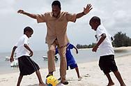 Football legend Pelé playing beach soccer
