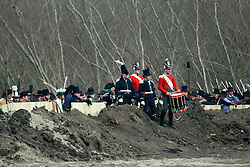 11 January 2015. New Orleans, Louisiana. <br /> Bicentennial reenactment of the Battle of New Orleans in Chalmette. <br /> American troops celebrate the January 8th, 1815 victory over superior numbers of British forces marking the 200th anniversary of the Battle of New Orleans in Chalmette. Despite heavily outnumbering the Americans, the British suffered over 2,000 casualties, with many senior officers amongst the dead and injured compared to the Americans who suffered a mere 70 by comparison. The American victory was hailed as miracle.<br /> Photo; Charlie Varley/varleypix.com