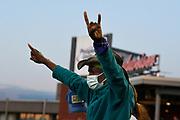A Hartford Yard Goats fan celebrates a home run.