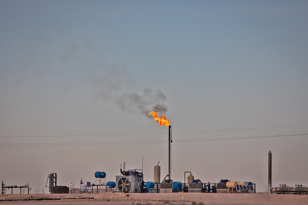 Flares at and oil and gas industry site    in the Permain Basin.