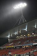 Rain starts fall just  before kick off Round 5 ITM cup Rugby match, Waikato v Tasman, at Waikato Stadium, Hamilton, New Zealand, Friday 29 July 2011. Photo: Dion Mellow/photosport.co.nz