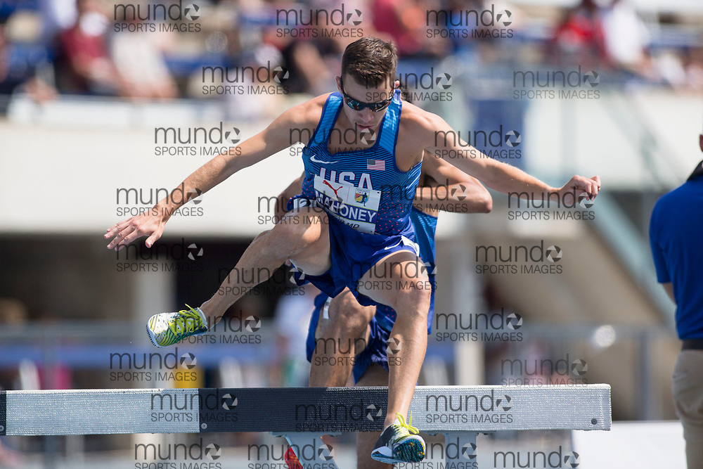 Toronto, ON -- 12 August 2018: Travis Mahoney (USA), 3000m steeplechase at the 2018 North America, Central America, and Caribbean Athletics Association (NACAC) Track and Field Championships held at Varsity Stadium, Toronto, Canada. (Photo by Sean Burges / Mundo Sport Images).