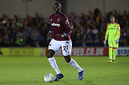 West Ham United defender Angelo Ogbonna (21) dribbling during the EFL Carabao Cup 2nd round match between AFC Wimbledon and West Ham United at the Cherry Red Records Stadium, Kingston, England on 28 August 2018.
