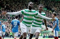 Celtic's Odsonne Edouard celebrates scoring his sides first goal during the Ladbrokes Scottish Premiership match at Celtic Park, Glasgow.