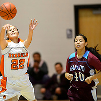 121313  Adron Gardner/Independent<br /> <br /> Gallup junior varsity Bengal Kristen Quigley (22) releases a pass ahead of Ganado Hornet Jaelynn Curley (40) during the Wingate Classic in Wingate Friday.