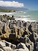 View of Pancake Rocks near Pukaiki, West Coast, New Zealand.
