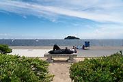 recreational fisher resting, Umikaze park, Yokosuka with Tokyo Bay and Sarushima Island