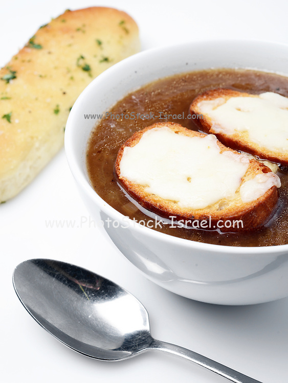 A plate of Onion Soup with grilled cheese