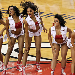 Jun 21, 2012; Miami, FL, USA; Miami Heat dancers perform during the first quarter in game five in the 2012 NBA Finals against the Oklahoma City Thunder at the American Airlines Arena. Mandatory Credit: Derick E. Hingle-US PRESSWIRE