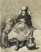 Laitière basque (Saint-Sébastien) [Basque milkmaid (San Sebastian)] Page illustration from the book 'Spain' [L'Espagne] by Davillier, Jean Charles, barón, 1823-1883; Doré, Gustave, 1832-1883; Published in Paris, France by Libreria Hachette, in 1874