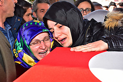 February 6, 2018 - Erzurum, Turkey - Relatives and thousands of people attend funeral prayers for Ahmet Aktepe, a Turkish soldier who was killed in cross-border clashes with Kurdish Popular Protection Units (YPG) forces on 4 February at Syria, in Erzurum. (Credit Image: © Onur Sagsoz/Depo Photos via ZUMA Wire)
