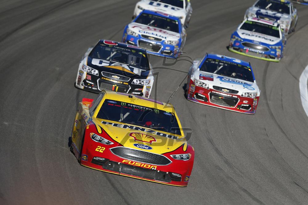 October 22, 2017 - Kansas City, Kansas, USA: Joey Logano (22) battles for position during the Hollywood Casino 400 at Kansas Speedway in Kansas City, Kansas.