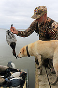 A successful hunter unloads the boat with his Yellow Labrador Retriever during a waterfowl hunt.