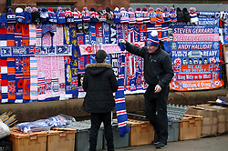 Merchandise stalls outside the stadium before the Scottish Premiership match at Ibrox Stadium, Glasgow.