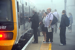 © Licensed to London News Pictures. 16/09/2014<br /> A foggy morning for commuters today(16.09.2014)<br /> Commuters into London from Pettswood station,Pettswood,Kent faced cold foggy conditions this morning.<br /> (Byline:Grant Falvey/LNP)