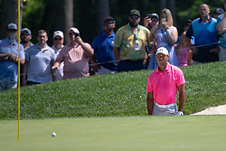 June 2, 2018 - Dublin, OH, U.S. - DUBLIN, OH - JUNE 02: Tiger Woods stares at a chip shot from the bunker during the third round of the Memorial Tournament at Muirfield Village Golf Club in Dublin, Ohio on June 02, 2018.(Photo by Adam Lacy/Icon Sportswire) (Credit Image: © Adam Lacy/Icon SMI via ZUMA Press)