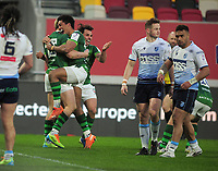 Rugby Union - 2020 / 2021 European Rugby Challenge Cup - Round of 16 - London Irish vs Cardiff - Brentford Community Stadium<br /> <br /> Hallam Amos of London Irish celebrates his 2nd half try<br /> <br /> Credit  COLORSPORT/ANDREW COWIE