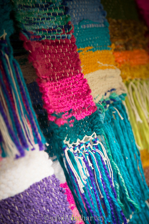 Coloured textiles for sale at a local co-operative, Elqui Valley,Chile.