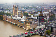 An aerial view of the The Palace of Westminster, also known as the Houses of Parliament or Westminster Palace covered in scaffolding.  It is the meeting place of the two houses of the Parliament of the United Kingdom and is on the bank of the River Thames in London, United Kingdom.
