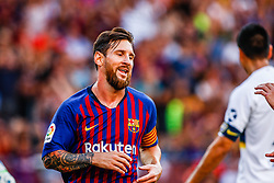 August 15, 2018 - Leo Messi from Argentina celebrating his goal during the Joan Gamper trophy game between FC Barcelona and CA Boca Juniors in Camp Nou Stadium at Barcelona, on 15 of August of 2018, Spain. (Credit Image: © AFP7 via ZUMA Wire)