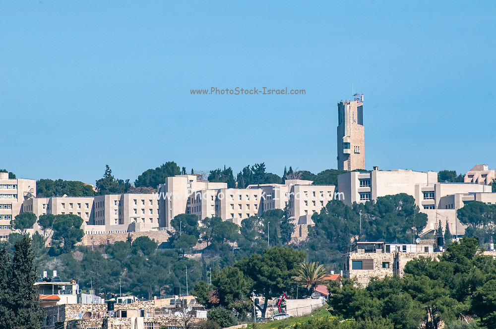Israel, Jerusalem, Mt. Scopus. The tower of the Hebrew university in Jerusalem
