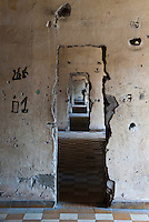 The khmer Rouge made new doorways inside Building C at Tuol Sleng Genocide Museum, Phnom Penh, Cambodia