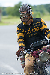Shinya Kimura riding his Team 80 1915 Indian Twin during Stage 1 of the Motorcycle Cannonball Cross-Country Endurance Run, which on this day ran from Daytona Beach to Lake City, FL., USA. Friday, September 5, 2014.  Photography ©2014 Michael Lichter.