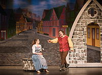 Rosalie Daval plays Belle and Lucas Hakoshima plays Gaston during a scene of Off Square Theatre Company's production of Beauty and the Beast, Jr. The play will run Friday at 6:30 p.m. and Saturday at 1 p.m. and 6:30 p.m. at the Center for the Arts.