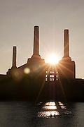 The old disused Battersea Power Station seen over the River Thames, London, UK