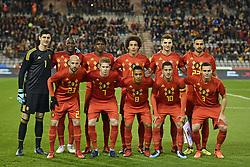 November 10, 2017 - Brugge, BELGIUM - (upper L-R) Belgium's goalkeeper Thibaut Courtois, Belgium's Romelu Lukaku, Belgium's Dedryck Boyata, Belgium's Axel Witsel, Belgium's Thomas Meunier, Belgium's Nacer Chadli, (lower L-R) 23 Belgium's Laurent Ciman, Belgium's Kevin De Bruyne, Belgium's Youri Tielemans, Belgium's Eden Hazard and Belgium's Thomas Vermaelen pose for a team picture at the start of a friendly soccer game between Belgian national team Red Devils and Mexico, Friday 10 November 2017, in Brugge...BELGA PHOTO DIRK WAEM (Credit Image: © Dirk Waem/Belga via ZUMA Press)