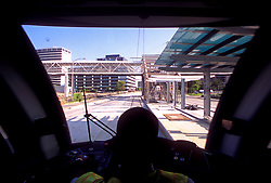 Inside the conductor's booth on a metro light rail train