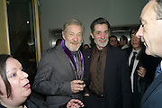 SIR IAN MCKELLEN; ROGER REES, The after-party for Waiting for Godot.( Opening at the Theatre Royal Haymarket. )  Haymarket Hotel. London. 27 January 2010 *** Local Caption *** -DO NOT ARCHIVE-© Copyright Photograph by Dafydd Jones. 248 Clapham Rd. London SW9 0PZ. Tel 0207 820 0771. www.dafjones.com.<br /> SIR IAN MCKELLEN; ROGER REES, The after-party for Waiting for Godot.( Opening at the Theatre Royal Haymarket. )  Haymarket Hotel. London. 27 January 2010