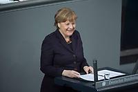 17 FEB 2016, BERLIN/GERMANY:<br /> Angela Merkel, CDU, Budneskanzlerin, waehrend ihrer Regierunsgerklaerung der zum Europaeischen Rat, Plenum, Deutscher Bundestag<br /> IMAGE: 20160217-03-010<br /> KEYWORDS: Debatte, Rede, speech