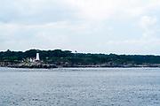 Seaside view of the Portland Head Lighthouse, near Portland, Maine, USA.