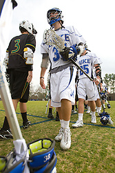 23 February 2008: Duke Blue Devils men's lacrosse defenseman Kevin Mayer (34) in a 19-7 win over the Vermont Catamonts at Koskinen Stadium in Durham, NC