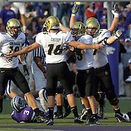 The Colorado Buffaloes celebrate after kicker Mason Crosby (16) kicked a 50-yard field goal to beat Kansas State 23-20 at KSU Stadium in Manhattan, Kansas, October 29, 2005.