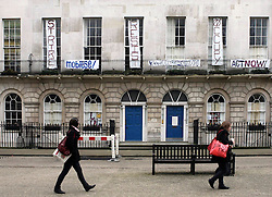 © under license to London News Pictures. 15/02/20011. A view of the occupied building. A GROUP of squatters has taken over a £6 million central London house in Fitzroy Square belonging to film director Guy Ritchie.