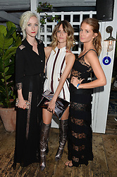 Left to right, PORTIA FREEMAN, WHINNIE WILLIAMS and MILLIE MACKINTOSH at the Warner Music Group & GQ Summer Drinks hosted in asociation with Quintessentially at Shoreditch House, Ebor Street, London on 6th July 2016.
