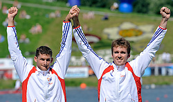 ARNAUD HYBOIS & SEBASTIEN JOUVE (BOTH FRANCE) CELEBRATE THEIR GOLD MEDALS IN MEN'S K2 200 METERS FINAL A RACE DURING 2010 ICF KAYAK SPRINT WORLD CHAMPIONSHIPS ON MALTA LAKE IN POZNAN, POLAND...POLAND , POZNAN , AUGUST 22, 2010..( PHOTO BY ADAM NURKIEWICZ / MEDIASPORT ).