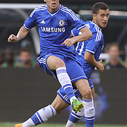 Oscar, Chelsea, (left) and Eden Hazard  in action during the Chelsea V AC Milan Guinness International Champions Cup tie at MetLife Stadium, East Rutherford, New Jersey, USA.  4th August 2013. Photo Tim Clayton