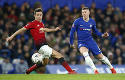 February 18, 2019 - London, United Kingdom - L-R Manchester United's Ander Herrera and Chelsea's Ross Barkley.during FA Cup Fifth Round between Chelsea and Manchester United at Stanford Bridge stadium , London, England on 18 Feb 2019. (Credit Image: © Action Foto Sport/NurPhoto via ZUMA Press)